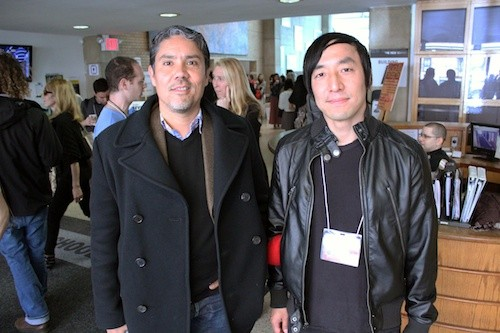 Paul Pfeiffer (left) and Alex Chung (right) at Seven on Seven 2013. Photo: Ian Forster