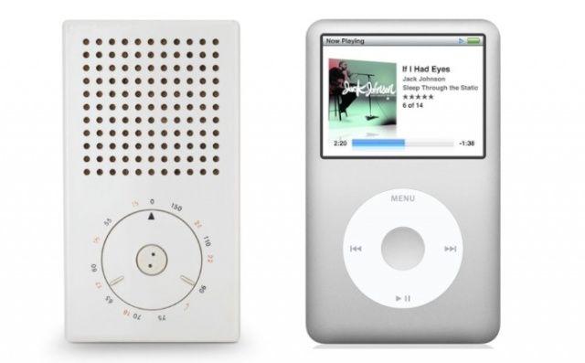 Left: Pocket radio (model T3) designed by Dieter Rams; Right: Apple iPod
